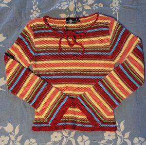 Tie front striped size medium shirt